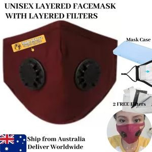 Personalized Facemask Red Reusable Washable with Dual Vents Valve Filter